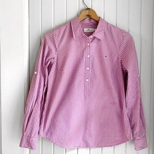 Vineyard Vines Purple Gingham Popover Top U